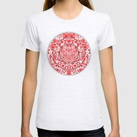 Illusionary Daisy (Red) Womens Fitted Tee Ash Grey SMALL