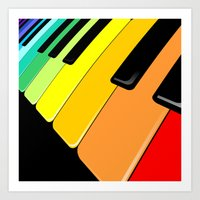 Piano Keyboard Rainbow Colors  Art Print