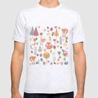 Baby Fox Pattern 05 Mens Fitted Tee Ash Grey SMALL