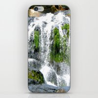 Waterfall over green rocks iPhone & iPod Skin