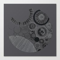 Abstract Geode Doodle Design in Charcoal Canvas Print