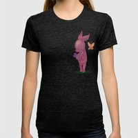 Spring Piglet Womens Fitted Tee Tri-Black SMALL