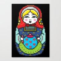 16bit Matrioska Black Ba… Canvas Print