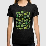 Succulents Womens Fitted Tee Tri-Black SMALL