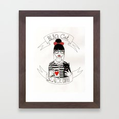 Black Cat Black Coffee Framed Art Print