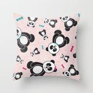 Panda Freefall In Pink Throw Pillow