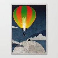 Picnic In A Balloon On T… Canvas Print