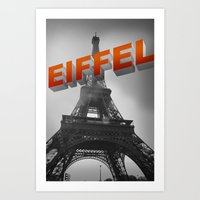 eiffel Art Prints featuring Eiffel by Vin Zzep