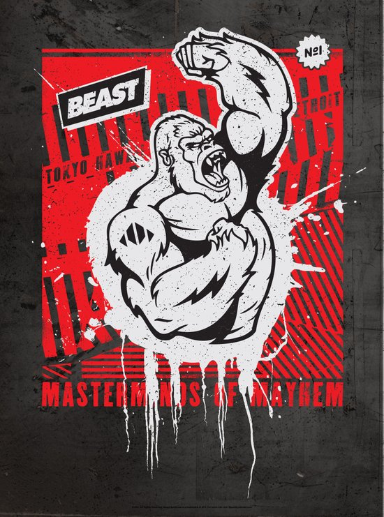 Mayhem Ape (Black on Red) Art Print