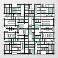 Map Lines Mint Canvas Print