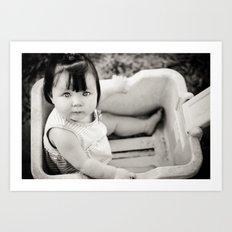 baby in wagon Art Print