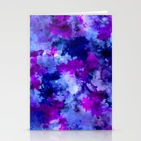 Modern blue purple watercolor brushstrokes paint Stationery Cards