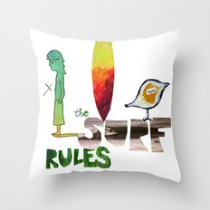The Surf Rules Throw Pillow