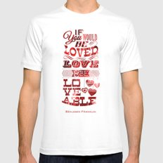 To Be Loved White SMALL Mens Fitted Tee