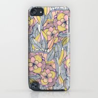 iPod Touch Cases featuring Pink and Peach Linework Floral Pattern by micklyn