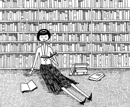 She just wanted to read books and do nothing else Art Print