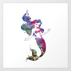 Little Mermaid Watercolor Art Print