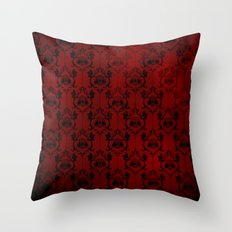 Halloween Damask Red Throw Pillow