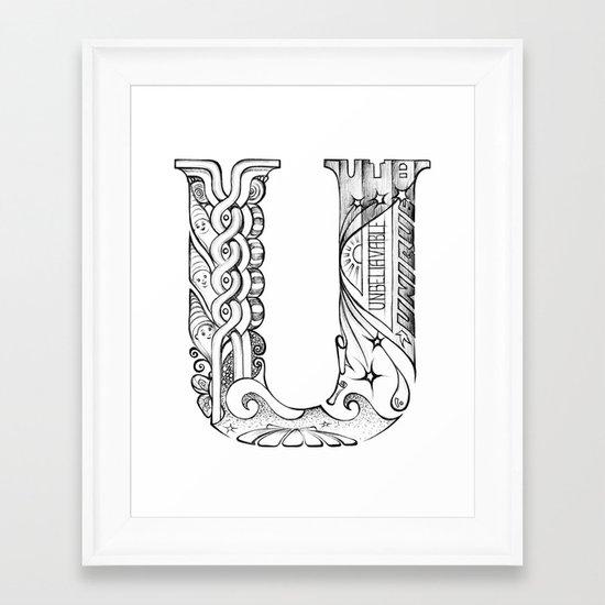 U letter Framed Art Print