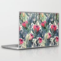 pink Laptop & iPad Skins featuring Painted Protea Pattern by micklyn
