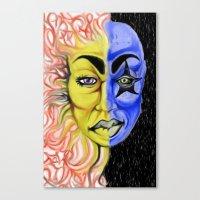 Roobiks Sun and Moon Canvas Print
