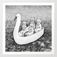 4 cats on a boat Art Print
