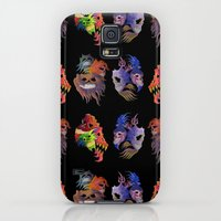 Galaxy S5 Cases featuring colorful skulls by giol's