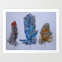 Feathers Zentangled Art Print