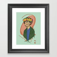 Will With Flower Crown Framed Art Print