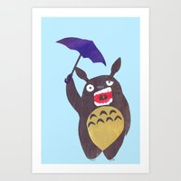 Totoro Is Tired Collage Art Print