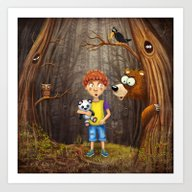 Little Boy With The Anim… Art Print