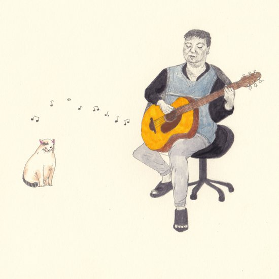 before doomsday,father and cat still sing their song as usual. Art Print