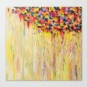 OPPOSITES LOVE Raining Sunshine - Bold Bright Sunny Colorful Rain Storm Abstract Acrylic Painting Canvas Print