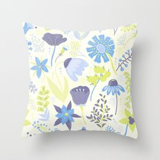 Blue And Purple Wildflow… Throw Pillow