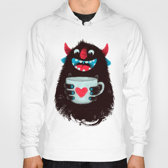 Demon with a cup of coffee (contrast) Hoody