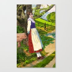 Young peasant in a meadow Canvas Print