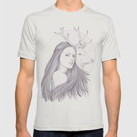 The White Deer Mens Fitted Tee Silver SMALL