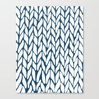 Hand Knitted Navy Canvas Print