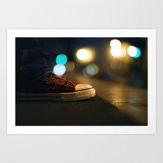 Converse All Star Night Lights Art Print
