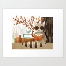 The Bookish Forest: Raccoon Art Print