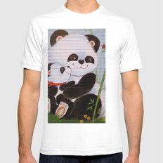 Panda Love White Mens Fitted Tee SMALL