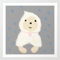 Alternative rain wear(Retriever wears a plastic bag in the rain) Art Print