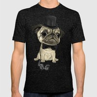 Pug; gentle pug (color version) Mens Fitted Tee Tri-Black SMALL