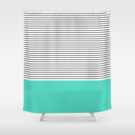 Minimal Teal Blue Stripes Shower Curtain By Allyson