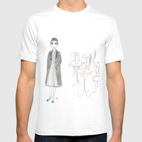 Cafe Girl Mens Fitted Tee White SMALL