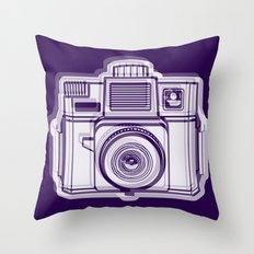 I Still Shoot Film Holga Logo - Reversed Deep Purple Throw Pillow