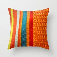 in woven color Throw Pillow