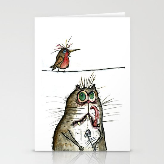 A Cat ponders, fish or poultry? Stationery Card