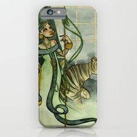 iPhone & iPod Case featuring Woman With Tiger and Chair by JoJo Seames