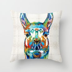 Colorful Llama Art - The Prince - By Sharon Cummings Throw Pillow